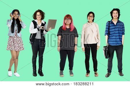 Diverse of Young Adult People Studio Isolated poster