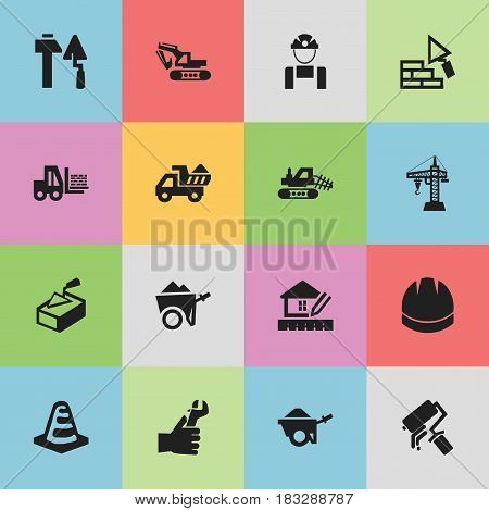 Set Of 16 Editable Structure Icons. Includes Symbols Such As Excavation Machine, Elevator, Home Scheduling And More. Can Be Used For Web, Mobile, UI And Infographic Design.