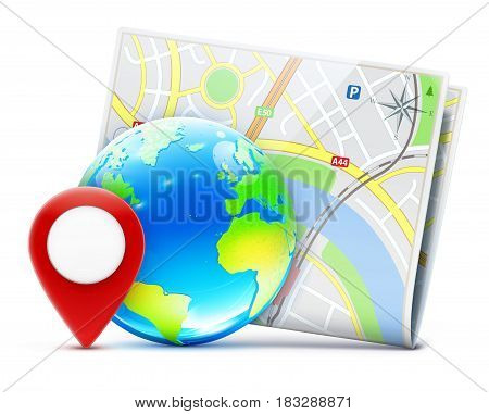 Vector illustration of global navigation concept with blue glossy earth globe and city map