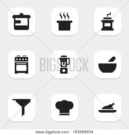 Set Of 9 Editable Food Icons. Includes Symbols Such As Mocha Grinder, Cook Cap, Utensil And More. Can Be Used For Web, Mobile, UI And Infographic Design.