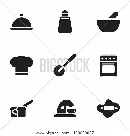 Set Of 9 Editable Food Icons. Includes Symbols Such As Knife Roller, Dough, Cook Cap And More. Can Be Used For Web, Mobile, UI And Infographic Design.