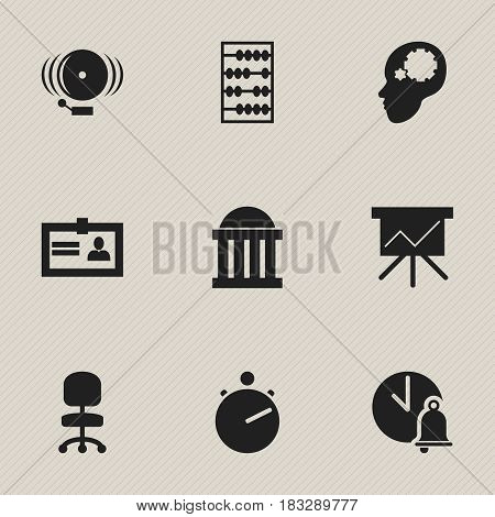 Set Of 9 Editable Education Icons. Includes Symbols Such As Courtroom, Work Seat, Ring And More. Can Be Used For Web, Mobile, UI And Infographic Design.