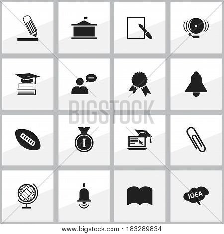 Set Of 16 Editable Science Icons. Includes Symbols Such As Univercity, Distance Learning, Bell And More. Can Be Used For Web, Mobile, UI And Infographic Design.