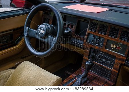 BERLIN - JUNE 14 2015: Cabin of a sports car Chevrolet Corvette (C4) Targa 1988. The Classic Days on Kurfuerstendamm.