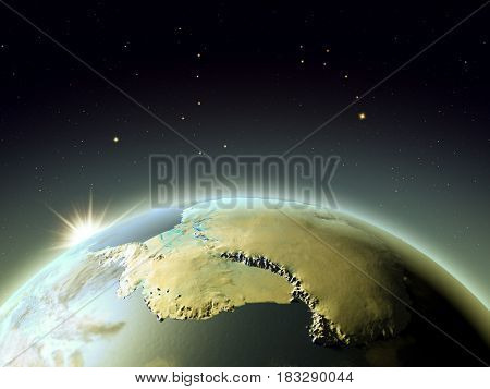 Antractic From Space During Sunrise