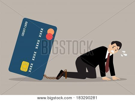 Desperate businessman with credit card burden. business concept