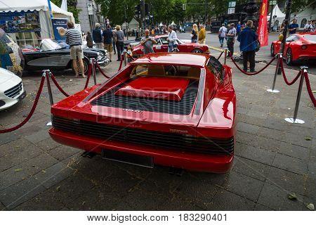 BERLIN - JUNE 14 2015: Sports car Ferrari Testarossa (Type F110). Rear view. The Classic Days on Kurfuerstendamm.