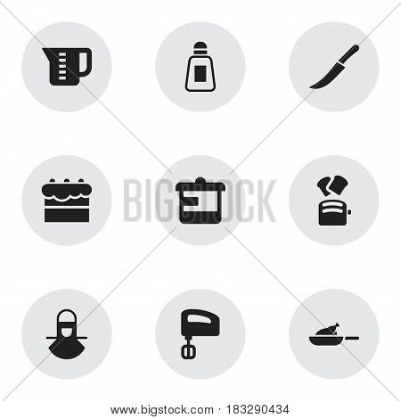 Set Of 9 Editable Cook Icons. Includes Symbols Such As Rocker Blade, Pastry, Sword And More. Can Be Used For Web, Mobile, UI And Infographic Design.