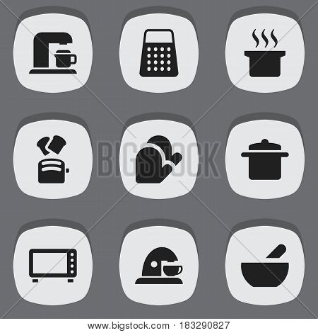 Set Of 9 Editable Meal Icons. Includes Symbols Such As Oven, Kitchen Glove, Cookware And More. Can Be Used For Web, Mobile, UI And Infographic Design.