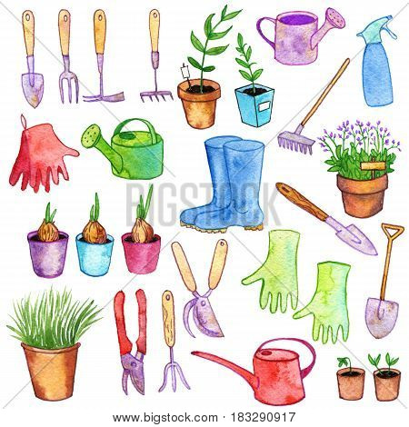 watercolor gardening doodle set, hand drawn isolated design hortyculture elements