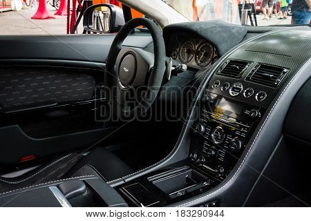 BERLIN - JUNE 14 2015: Cabin of a luxury sports car Aston Martin V8 Vantage N430 (since 2015). The Classic Days on Kurfuerstendamm.