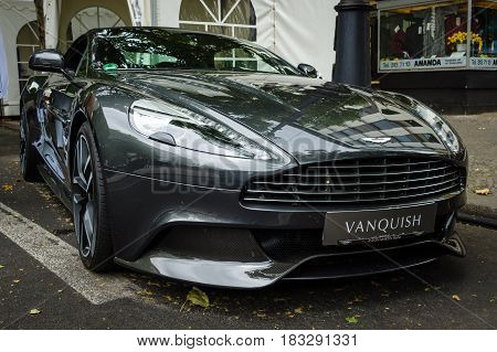 BERLIN - JUNE 14 2015: Luxury car Aston Martin Vanquish (since 2012). The Classic Days on Kurfuerstendamm.