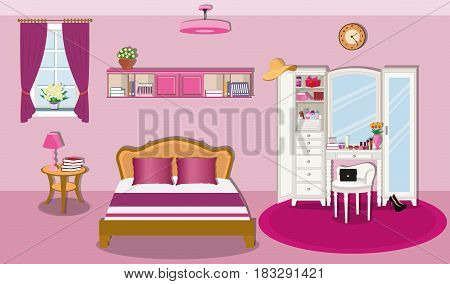Modern bedroom interior design with furniture and window. Wardrobe with mirror,bed with pillows, bedside table with lamp and bookshelves.Flat style vector illustration.