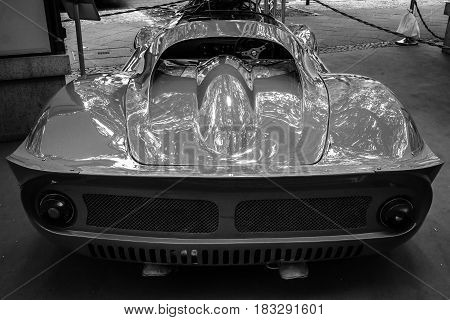 BERLIN - JUNE 14 2015: Sports car Ferrari Dino 206 SP (Sports prototype) 1966. Rear view. Black and white. The Classic Days on Kurfuerstendamm.