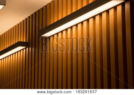 Light On Wooden Plank Wall stock photo