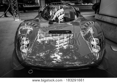 BERLIN - JUNE 14 2015: Sports car Ferrari Dino 206 SP (Sports prototype) 1966. Black and white. The Classic Days on Kurfuerstendamm.