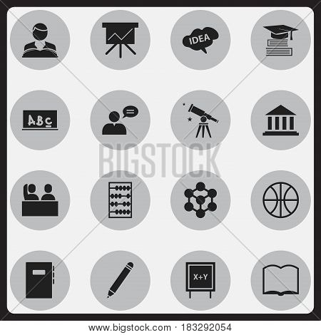 Set Of 16 Editable Graduation Icons. Includes Symbols Such As Mind, Chart Board, Workbook And More. Can Be Used For Web, Mobile, UI And Infographic Design.