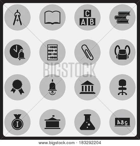 Set Of 16 Editable University Icons. Includes Symbols Such As School Board, Chemistry, Victory Medallion And More. Can Be Used For Web, Mobile, UI And Infographic Design.
