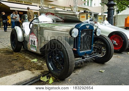 BERLIN - JUNE 14 2015: Sports car Austin 7 Ulster Special 1930. The Classic Days on Kurfuerstendamm.