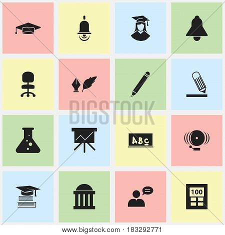 Set Of 16 Editable University Icons. Includes Symbols Such As Graduate, Calculator, Chemistry And More. Can Be Used For Web, Mobile, UI And Infographic Design.