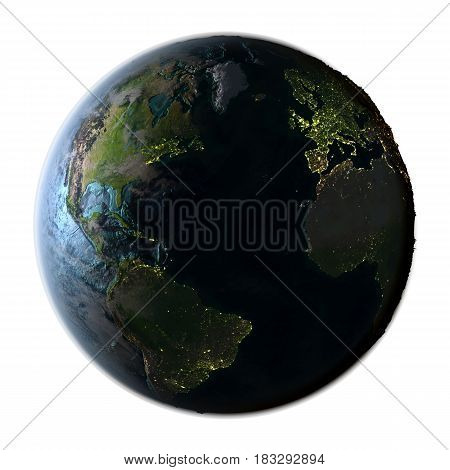 Northern Hemisphere On Detailed Planet Earth