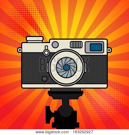 Retro vintage photo camera. Flat photo camera icon classic camera. Vector illustration.