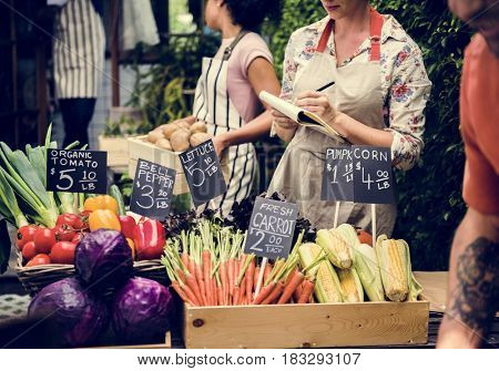 People is shopping at organic groceries shop