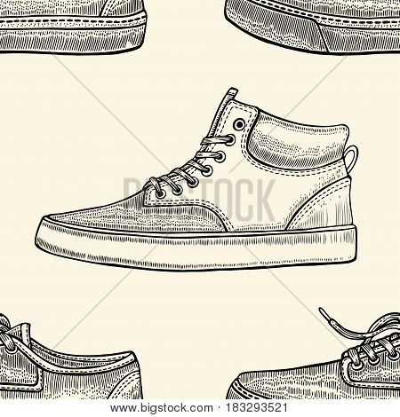 Hand drawn sketch seamless pattern of shoes - sneakers. Design element. Coloring book vector. Fashion shoes sneakers background.
