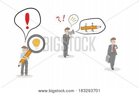 little men depict the process of implementation of the idea. teamwork. Business concept. vector illustration.