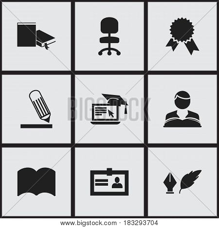 Set Of 9 Editable University Icons. Includes Symbols Such As Distance Learning, Work Seat, Dictionary And More. Can Be Used For Web, Mobile, UI And Infographic Design.