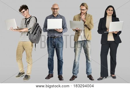 Diverse of People Using Laptop Notebook Studio Isolated