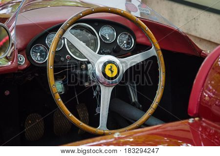 BERLIN - JUNE 14 2015: Cockpit of a sports car Ferrari 500 TR 1956. The Classic Days on Kurfuerstendamm.
