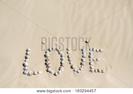 Word love written on the sand with sea shells at sunset on the beach.