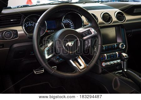 BERLIN - JUNE 14 2015: The cockpit of a pony car Ford Mustang 50th Anniversary Edition 2015. The Classic Days on Kurfuerstendamm.