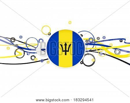 Flag Of Barbados, Circles Pattern With Lines