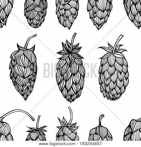 Hop beer seamless pattern background set. Vector illustration