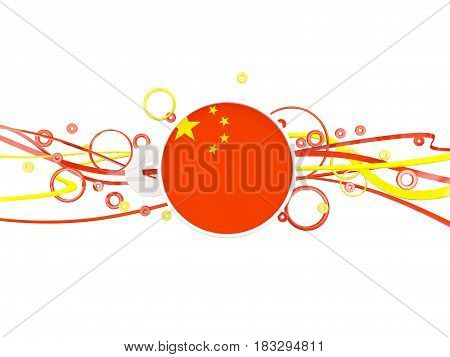 Flag Of China, Circles Pattern With Lines