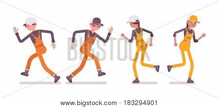 Set of male and female professional busy and unhappy industrial service worker in running pose, wearing bright orange and yellow overall, full length, front, rear view, isolated on white background