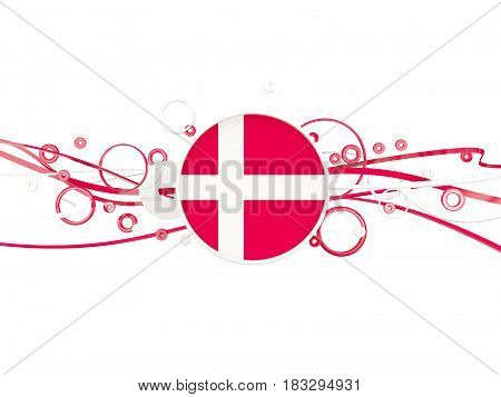 Flag Of Denmark, Circles Pattern With Lines