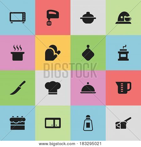 Set Of 16 Editable Meal Icons. Includes Symbols Such As Saltshaker, Bakery, Cook Cap And More. Can Be Used For Web, Mobile, UI And Infographic Design.
