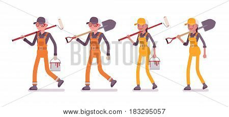 Set of male and female professional busy industrial service worker in walking pose, wearing bright orange, yellow overall, holding shovel, paint, roller, full length, isolated on white background