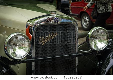 BERLIN - JUNE 14 2015: Fragment of Erskine (Studebaker) Model 51 Sedan 1928. The Classic Days on Kurfuerstendamm.