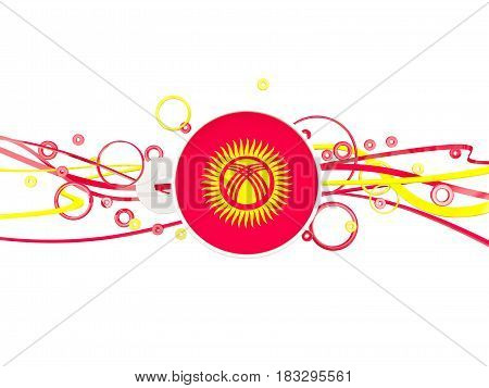 Flag Of Kyrgyzstan, Circles Pattern With Lines