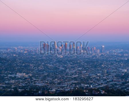 Downtown Los Angeles skyline at sunset. View from Hollywood Hills.