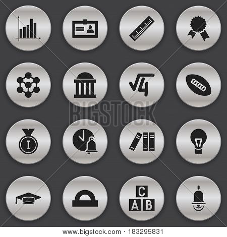 Set Of 16 Editable School Icons. Includes Symbols Such As Certification, Straightedge, First Place And More. Can Be Used For Web, Mobile, UI And Infographic Design.
