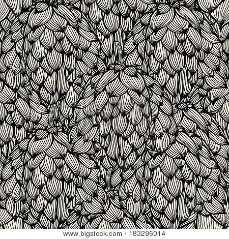 Vector seamless pattern with hand drawn hop cones. Beautiful design elements, perfect for prints and pattern.