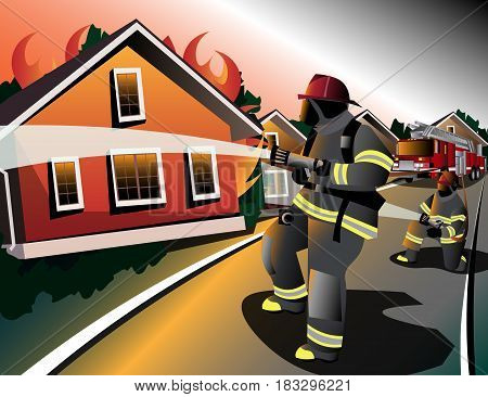 Firefighters try to extinguish burning houses. Vector illustration