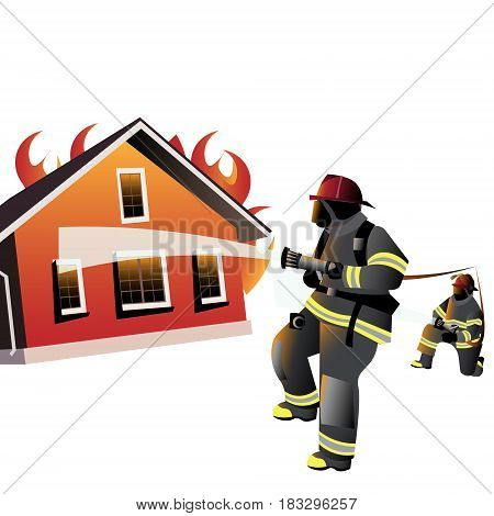 House on fire. Firefighters try to extinguish burning house