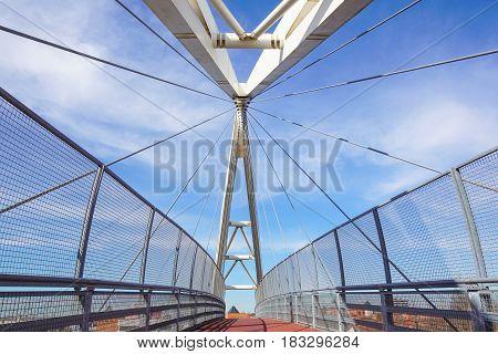 walkway detail of bridge at morning and sky