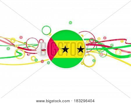 Flag Of Sao Tome And Principe, Circles Pattern With Lines